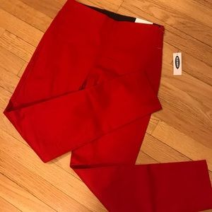 Red pants with side zipper NWT